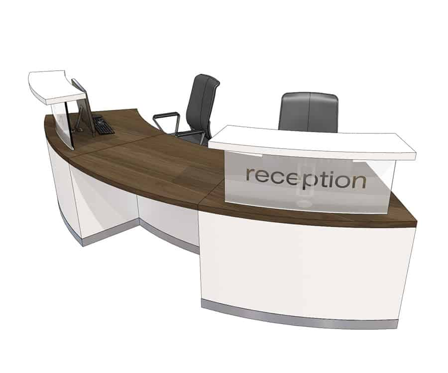 Clarke Rendall Curved Double Upstand 2 Person Desk Mode4